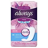 Always Thin Daily Liners, 60 Count, Clean Scent, Wrapped, Regular