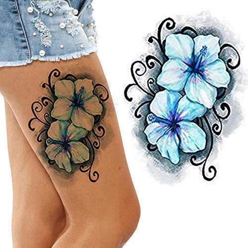 Black and Lotus Temporary Tattoos for Women Flower Big and Small Roses Adult Temp Tattoo on Transfer Paper (Blue Hawaiian) ()