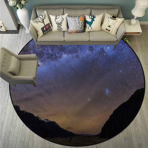 (Living Room Round Mat,Star,Tasman Valley Mount Cook NZ,Anti-Slip Doormat Footpad Machine Washable,3'7