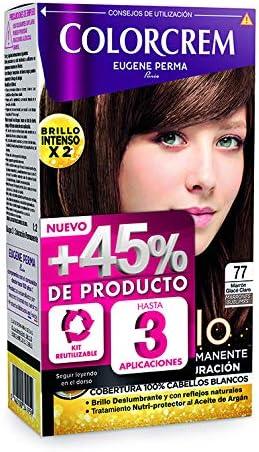 Colorcrem Color & Brillo - Tinte Permanente Mujer - Tono 77 Marrón Glacé Claro, con Tratamiento Nutri-Protector al Aceite de Argán. + 45% de Producto ...