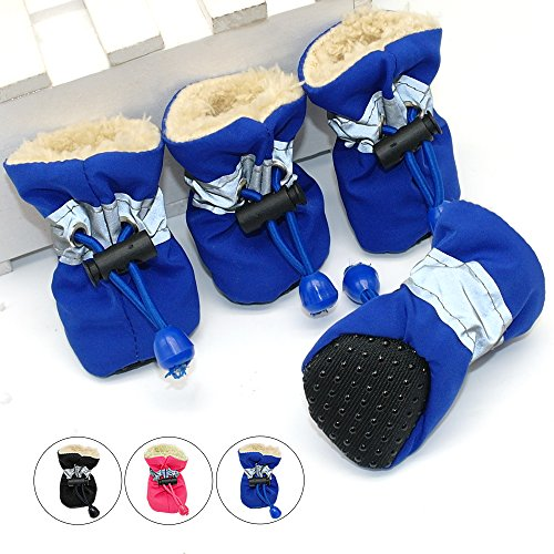 4 Pcs in One Pack Waterproof Winter Pet Dog Shoes| Cute Dog Shoes Sporty Shoes Lace up Blue Black Rose| Nonslip Dog Booties for Small Dogs Yorkshire, chihuahua, poodle, Bichon Frise,.. Size M