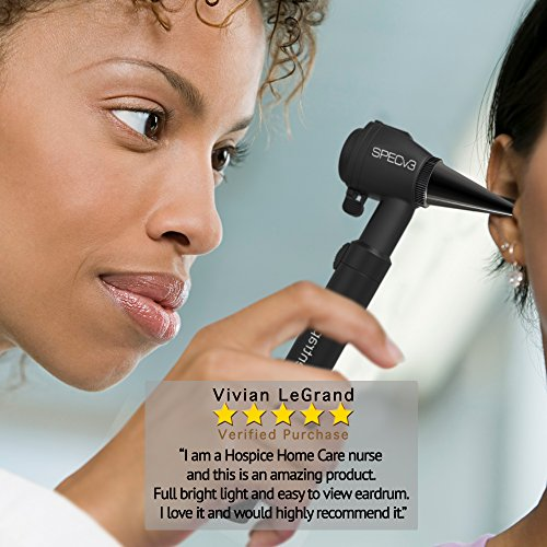 SPECv3 Fiber Optic LED Ear Otoscope - Physician MD Ear Care Professional & Home Diagnostic Set with 20 Reusable Specula