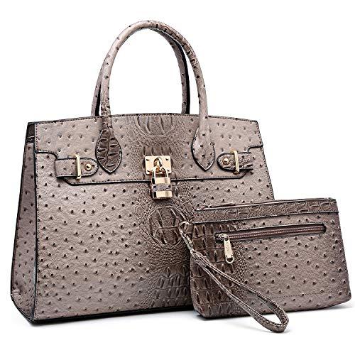 Women Handbags and Purses Ladies Shoulder Bag Ostrich Top Handle Satchel Tote Work Bag with Wallet (Khaki) (Cheap Replica Handbags)