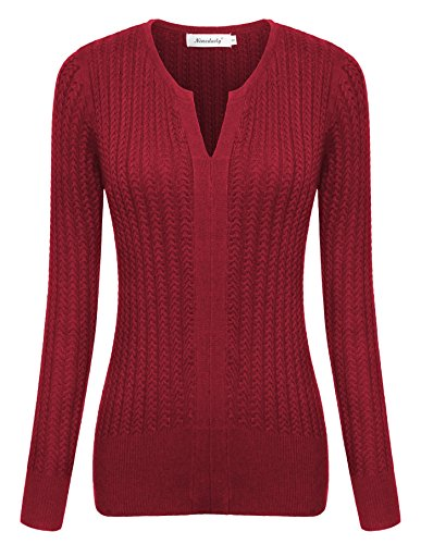 Ninedaily Womens Long Sleeve Cable Sweaters Notch Neck Winter Knit Tunic (Maternity Crewneck Cable Sweater)