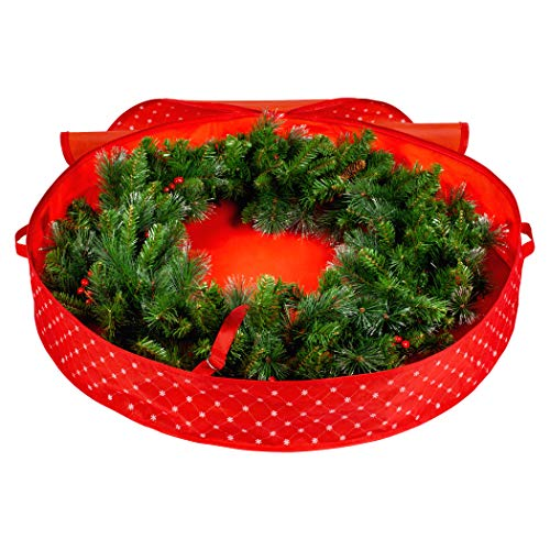 Christmas Wreath Storage Bag - Xmas Holiday Wreath Storage Container -Waterproof - Protects Against Dust, Moisture, and Damage - 30 inch - Durable 600D Material