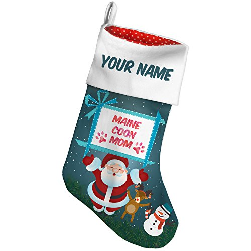 Christmas Stocking Dog & Cat Mom Maine Coon Xmas night NEONBLOND