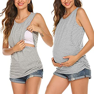 Ekouaer Women's Maternity Nursing Top Breastfeeding Tank Top Tee Shirt Double Layer Sleeveless Pregnancy Shirt