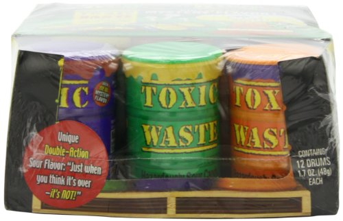 Toxic Waste Special Edition Colored Drums, Candy, 1.7 Ounce (Pack of 12) - Candy Drums