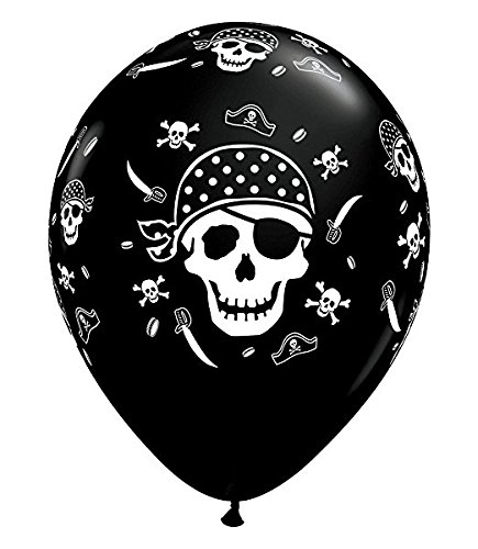 Qualatex Pirate Skull & Cross Bones Biodegradable Latex Balloon,11-Inch Round (10-Units) -