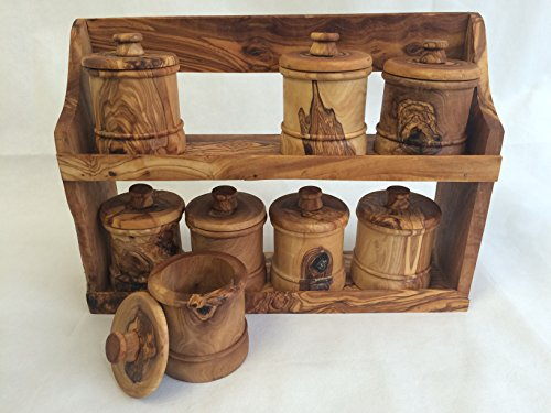 Olive Wood Spice Rack with 8 Jars by Alissar International (Image #1)