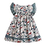 0-8T Kids Little Girls Fly Sleeve Floral Print Ruched Dresses Cute Loose O Neck Princess Dresses Outfits Clothes (White, 4-5 Years)