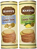 Mandys Cookie Thins 2-Flavor Variety: One 4.6 oz Canister Each of Zesty Lemon Cookie Thins and Simply Sugar Cookie Thins in a Gift Box