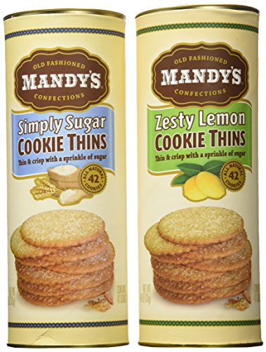 Mandy's Cookie Thins 2-Flavor Variety: One 4.6 oz Canister Each of Zesty Lemon Cookie Thins and Simply Sugar Cookie Thins in a Gift Box