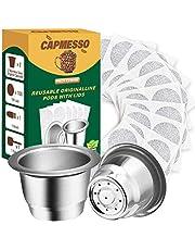 CAPMESSO Herbruikbare Espresso Capsules Hervulbare Koffiepod Roestvrijstalen Bekers Compatibel met Nespresso OriginalLine Brewer (2 Pods+100 Deksels)