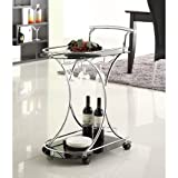Coaster 910001 Black Glass Serving Cart-Black