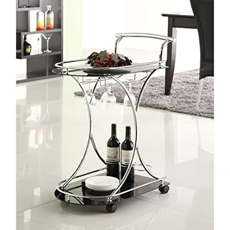 Amazon.Com - Coaster Kitchen Carts Serving Cart With 2 Black Glass