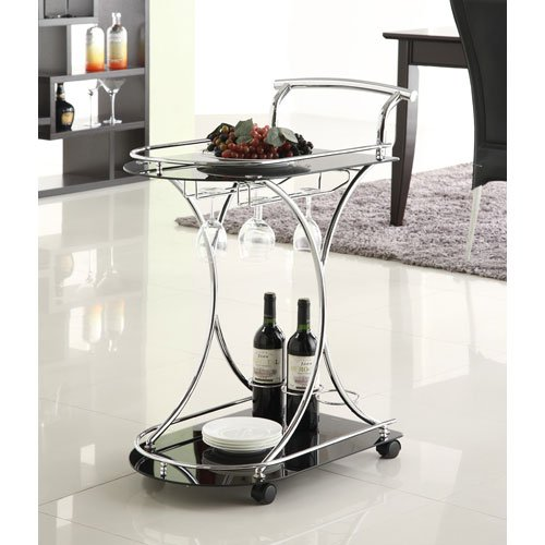 Coaster 910001 Black Glass Serving Cart-Black 910001II-CO