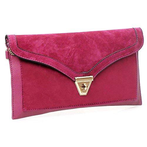 BMC Womens Fuchsia Pink Textured PU Faux Leather Suede Topped Envelope Flap Handbag Fashion Clutch