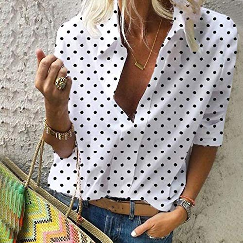 Polka Dot Roll Tab Long Sleeve Blouse,Londony Women's Casual V Neck Cuffed Sleeves Solid Chiffon Blouse Top White