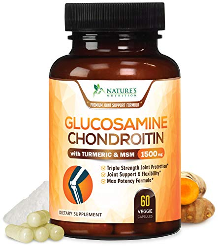 Glucosamine Chondroitin Turmeric MSM. Max Potency 1500mg - Glucosamine Sulfate Complex Supplement for Joint Pain Relief & Support - Anti-Inflammatory Pills for Back, Knees, Hip & Hands - 60 Capsules