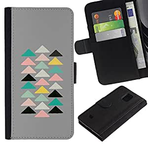 APlus Cases // Samsung Galaxy S5 Mini, SM-G800, NOT S5 REGULAR! // Triángulos Pirámide Moderno Arte Espiritual // Cuero PU Delgado caso Billetera cubierta Shell Armor Funda Case Cover Wallet Credit Card