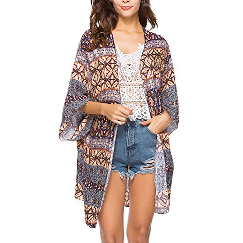 Zhhlinyuan Summer Womens 美しい 女性の ファッション Printed Kaftan Swimwear Loose Beachwear Long Sleeved Shirt Cardigan Cover Up