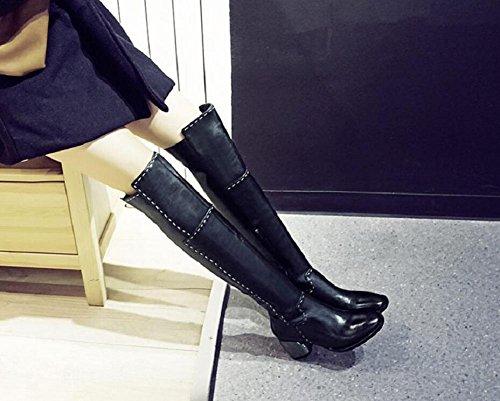 Genuine e e e ginocchio caldo lungo lungo 34 il cotone Bootie stivali 36 Moda velluto tacchi pelle sopra ispessita Chunky qHxwH1nf