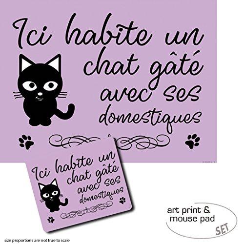1art1 Gatos, Ici Habite Un Chat Gâté Avec SES Domestiques 1 Póster ...