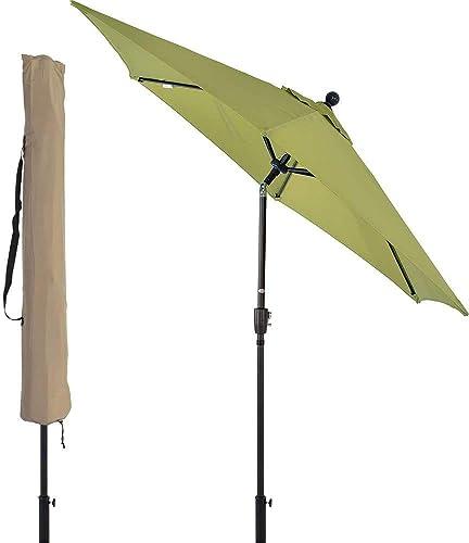 Suna Outdoor 9 ft Outdoor Umbrella Patio Backyard Market Table Umbrella Sturdy Pole Push Button Easily Tilt Crank with Umbrella Cover Lime Green