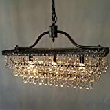 Gowt Modern Rain Drop Rectangle Clear K9 Crystal Chandelier Pendant Lamp Lighting Fixture 3 Lights for Dining Living Bedroom Room (Black Frame) L25.9'' x W9'' x H18.1'' (Chandeliers)