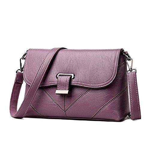 Cuir Main Fashion En Deep Sacs Messenger Femmes Meaeo Blue Purple Sac Sacs Plaid Crossbody À Pu Épaule Femmes Femmes pqInSwf