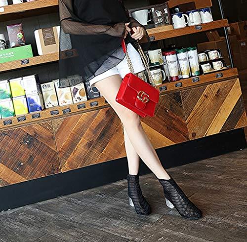 Nero Sandali da Maglia in Traspirante Stagione Colore Confortevole Moda Tacchi Scarpe Estiva Donna Tacco Dimensioni Marea 36 Baotou 5wqZ8Pq