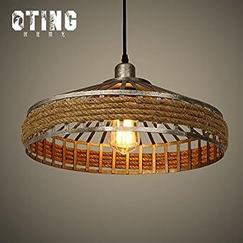 JJ Moderne LED Pendelleuchten Lampe Im Europäischen Stil Amerikanischer  LOFT Kronleuchter Lampen Retro Kreative Idyllische Sisalgarn