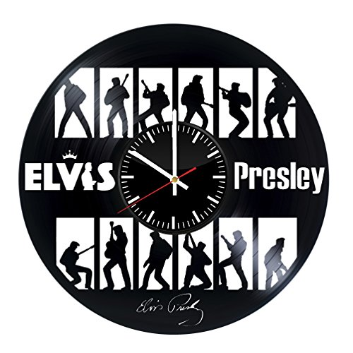 Fun Door Elvis Presley Handmade Vinyl Record Wall Clock for Birthday Wedding Anniversary Valentine's Mother's Ideas for Men and Women him and -