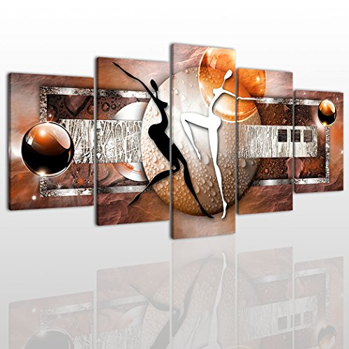 Abstract Dance Canvas Wall Art Painting Modern Design Picture For Home Office Decor - 5 Pieces Lover Framed On Wooden Frame Image Pictures Photo Artwork Decoration Ready To Hang Abstract Dance