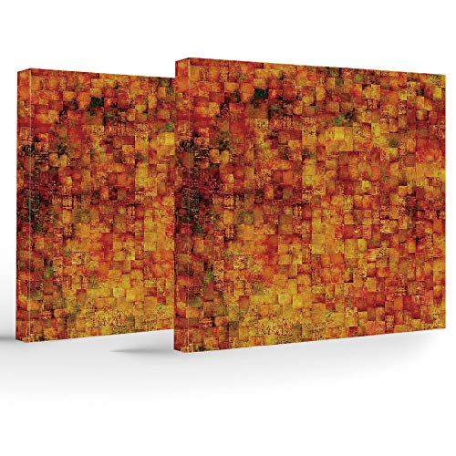 2 Piece Canvas Wall Art,Burnt Orange,2 Panels Stretched Canvas Framed Wall Art,Vintage Mosaic Background Quadratic Little Geometric Squares Faded Print Decorative