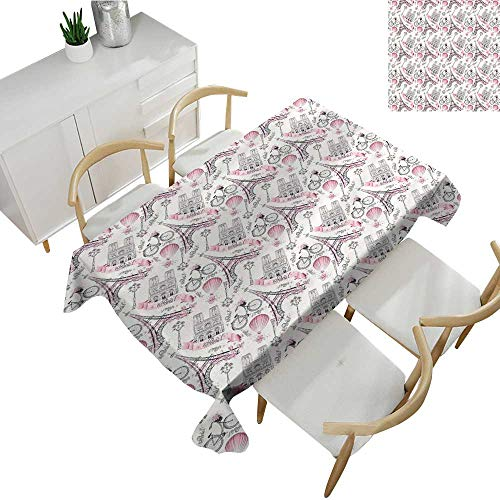 Warm Family Eiffel Elegant Waterproof Spillproof Polyester Fabric Table Cover Artistic Composition Floral Landmark Notre Dame Cathedral Bicycle Air Balloon 50