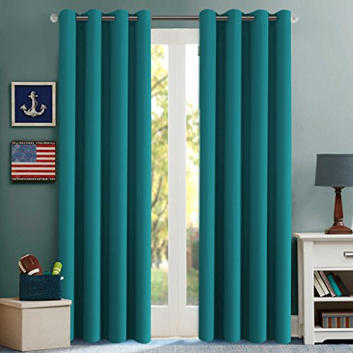 H.Versailtex Blackout Room Darkening Window Treatment Curtains,Grommet Drapes,52 by 96 – Inch – Turquoise Blue – Set of 2