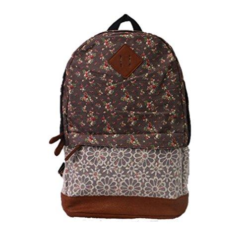 Malloom Mujeres chicas moda flor encaje lienzo mochila bolso de escuela (marrón) marrón