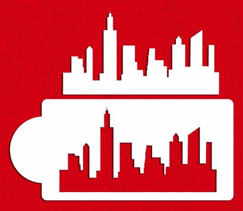 Designer Stencils C757 New York Skyline Cake Stencil and Template, Beige/Semi-Transparent