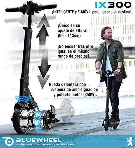 Comprar Bluewheel ¡Novedad 2019! Patinete eléctrico Scooter IX300 App Smartphone,LED, Bluetooth,LCD Display, batería Li-Ion de hasta 20 km*. Patín Freestyle para niños y Adultos (IX300 S)