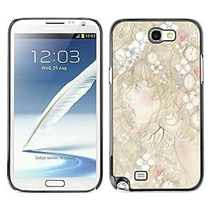 TopCaseStore / la caja del caucho duro de la cubierta de protección de la piel - Art Girl Forest Fairy Flowers Woman - Samsung Galaxy Note 2 N7100