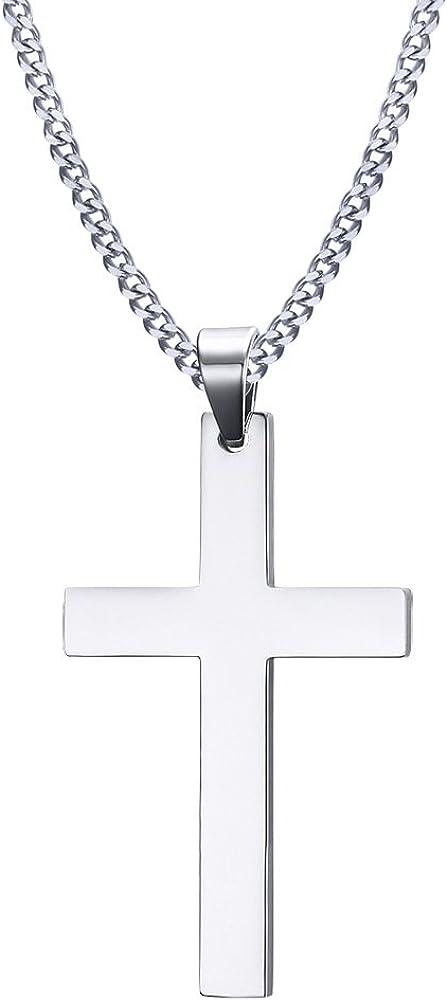 Gkmamrg Colgante de Cruz de Acero Inoxidable con Cadena de 55 cm para Hombre y Mujer, Plata