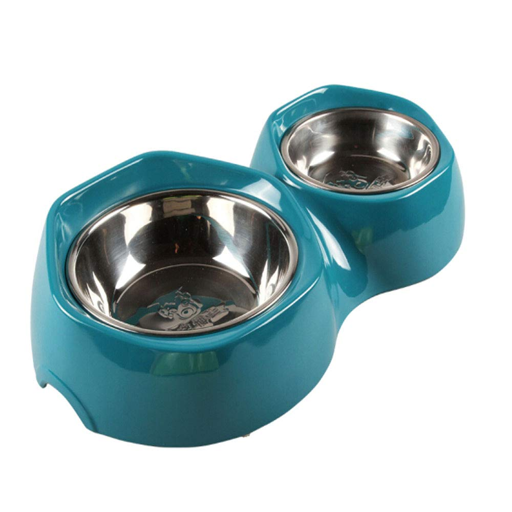 bluee XIAN Non Spill Dog Bowl,Dog and Dog Stainless Steel Double Diner Food Water Bowl Easy to Clean Non-Skid Bowls for Dogs (color   bluee)