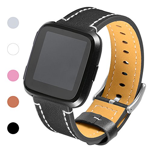 - Henoda for Fitbit Versa Classic Leather Accessory Bands for Women Men, Genuine Leather Wristband Replacement Strap for Fitbit Versa Fitness Smart Watch Black