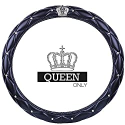 Rhinestone and Crown Logo Steering Wheel Cover