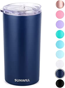 SUNWILL Double Wall Coffee Cup, Insulated Coffee Mug Stainless Steel Slim Travel Tumbler Mini 12oz, Navy Blue