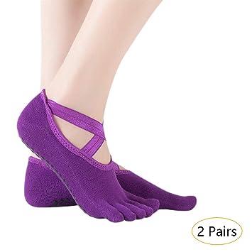 KINDOYO Mujer Calcetines Pilates Yoga - 2/4 Pares ...