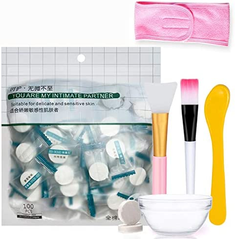 100 pcs Compressed Facial Sheet Beauty DIY Disposable Paper Natural Cotton Skin Care Wrapped Normal Thick,Get a Small Bowl, Brushes and Hair Band Free