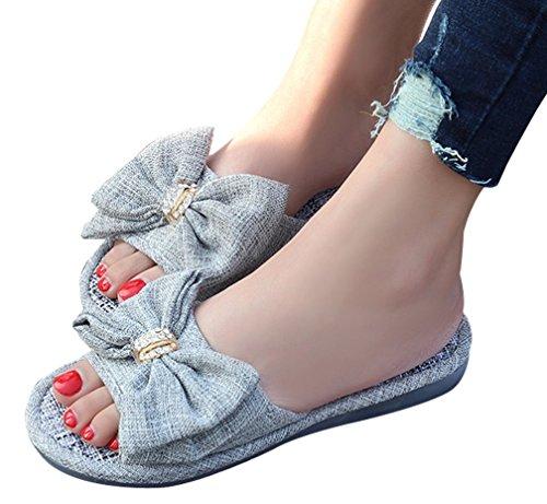 Pantofole Da Donna Cravatta Da Donna Grande Arco Pantofole Da Donna Punta Aperta Grigio